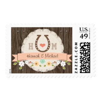Coral Monogrammed Horseshoe Wedding Stamp