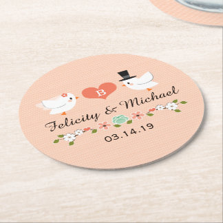 Coral Monogrammed Love Bird Dove Wedding Round Paper Coaster