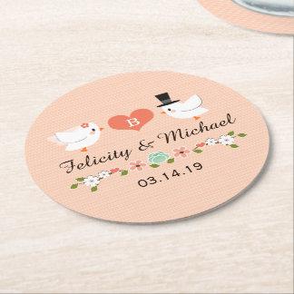 Coral Monogrammed Love Bird Dove Wedding Round Paper Coaster