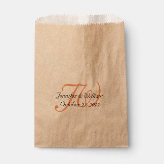 Coral Monogrammed Wedding Favor Bag