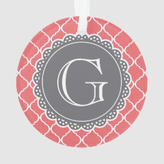 Coral Moroccan Lattice Pattern Grey Monogram Ornament