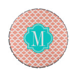 Coral Moroccan Pattern with Turquoise Monogram Jelly Belly Tin