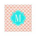 Coral Moroccan Pattern with Turquoise Monogram Canvas Print