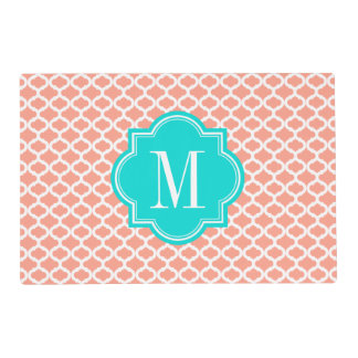 Coral Moroccan Pattern with Turquoise Monogram Placemat
