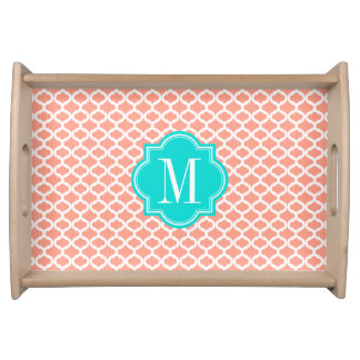 Coral Moroccan Pattern with Turquoise Monogram Serving Tray