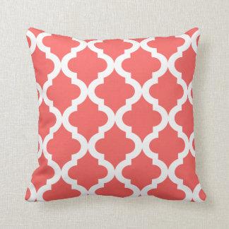 Coral Moroccan Quatrefoil Print Throw Pillow