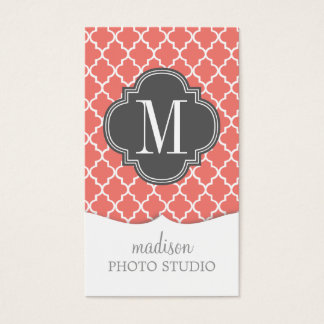 Coral Moroccan Tiles Lattice Personalized Business Card