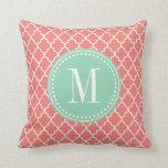 Coral Moroccan Tiles Lattice Personalized Pillow