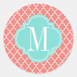 Coral Moroccan Tiles Lattice Personalized Sticker
