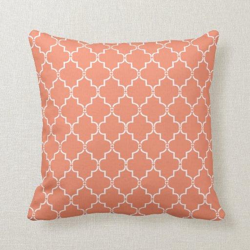 Coral Moroccan Trellis Pattern Pillow Zazzle
