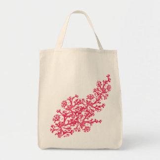 Coral Motif Grocery Tote Bag