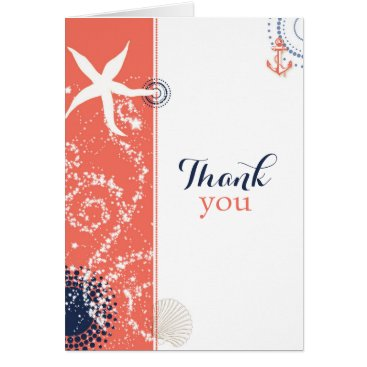 Beach Themed Coral n Navy Blue Nautical Wedding Thank You Card