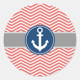 Coral Nautical Anchor Chevron Classic Round Sticker