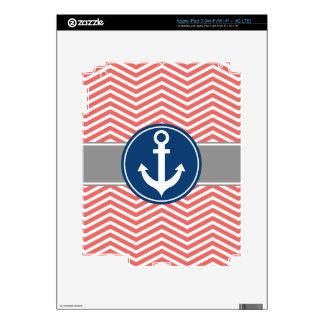 Coral Nautical Anchor Chevron iPad 3 Decals