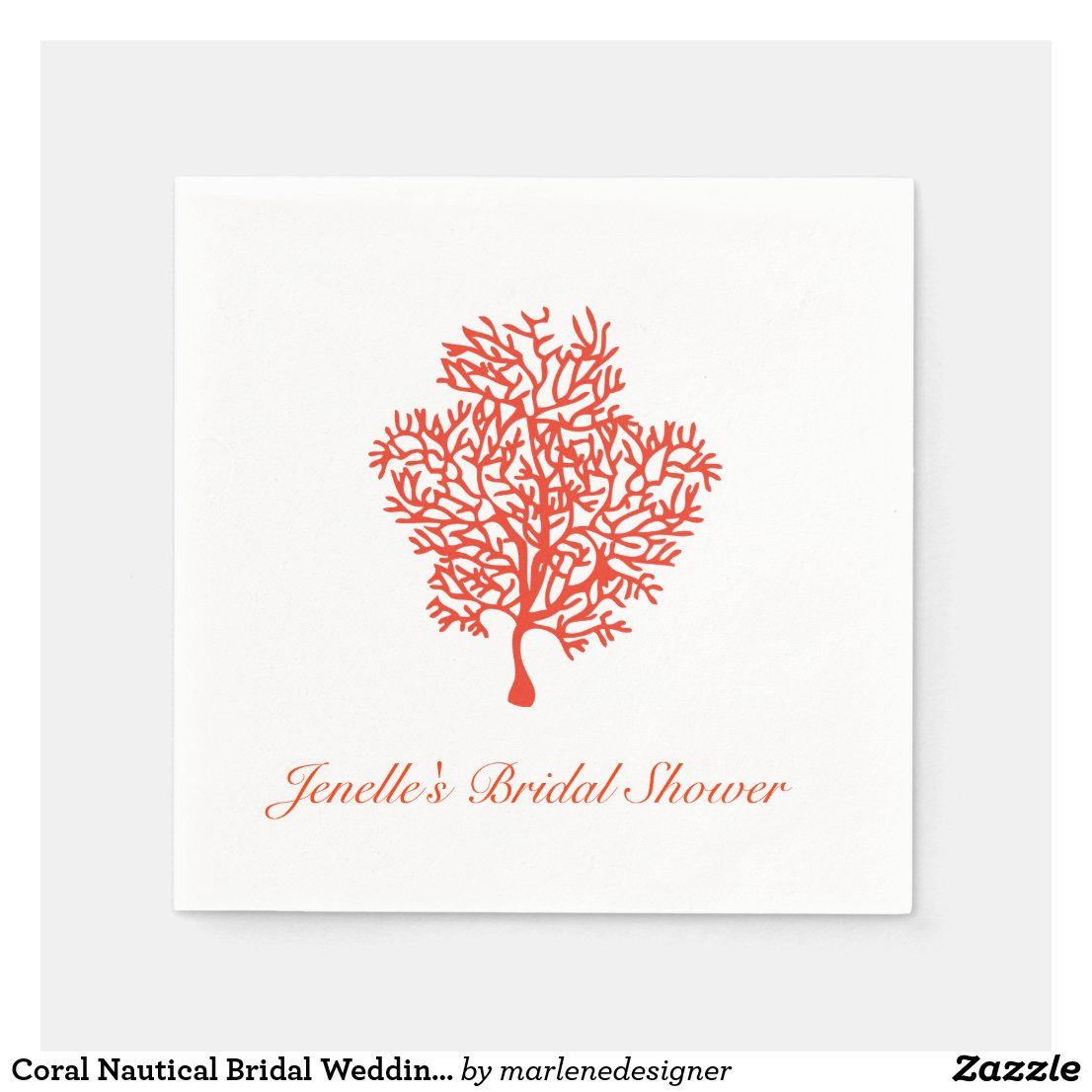 Coral Nautical Bridal Wedding Napkin