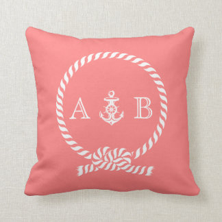 Coral Nautical Rope and Anchor Monogram Pillow