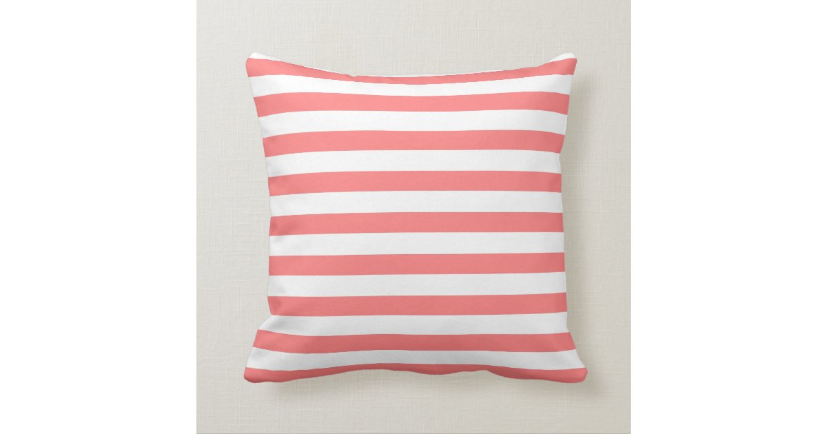 Coral Nautical Rope And Anchor Monogram Throw Pillow Zazzle