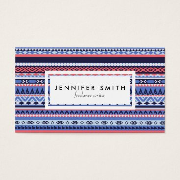 Professional Business Coral, navy and blue pattern business card