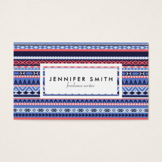 Coral, navy and blue pattern business card