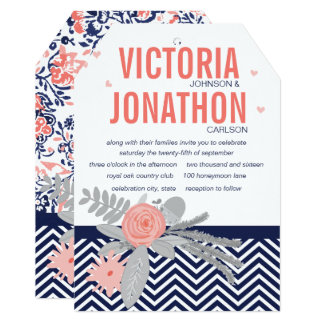 Coral Navy and Coral Zig Zag and Floral Wedding Card