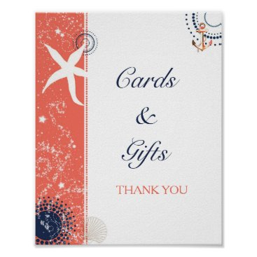 Beach Themed Coral Navy Beach Wedding Cards & Gifts Sign