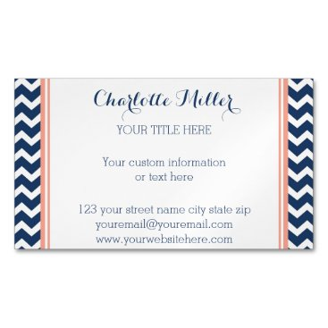 Professional Business Coral Navy Blue Chevron Magnetic Business Card