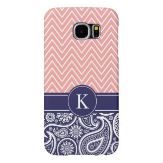 Coral Navy Blue Chevron Paisley Monogram Pattern Samsung Galaxy S6 Case