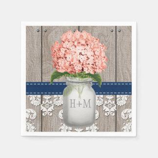 Coral Navy Blue Monogrammed Hydrangea Mason Jar Napkin