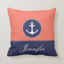 Coral Navy Blue Nautical Anchor Design Custom Name Throw Pillow