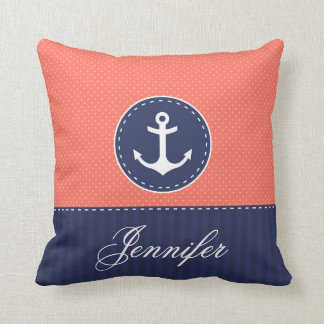 coral navy blue nautical anchor design custom name throw pillow