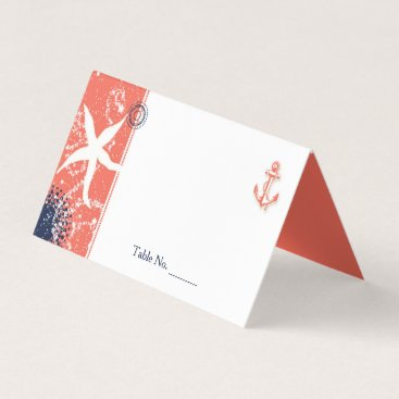 Beach Themed Coral & Navy Blue Nautical Wedding Place Card