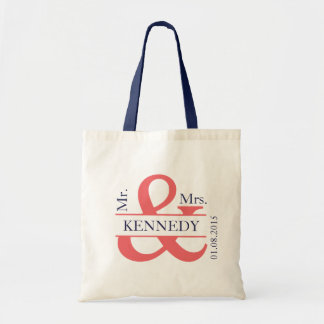 Coral Navy Blue Newly Weds Wedding Favor Budget Tote Bag