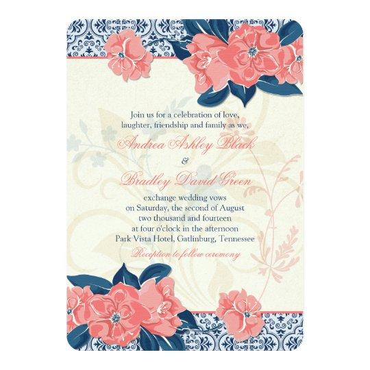 coral navy blue vintage floral wedding invitation - Coral And Navy Wedding Invitations