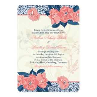 Coral Navy Blue Vintage Floral Wedding Invitation