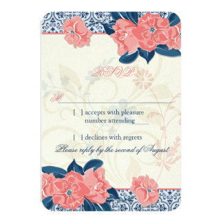 Coral Navy Blue Vintage Floral Wedding RSVP Reply Card