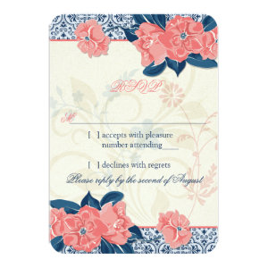 Coral Navy Blue Vintage Floral Wedding RSVP Reply 3.5x5 Paper Invitation Card