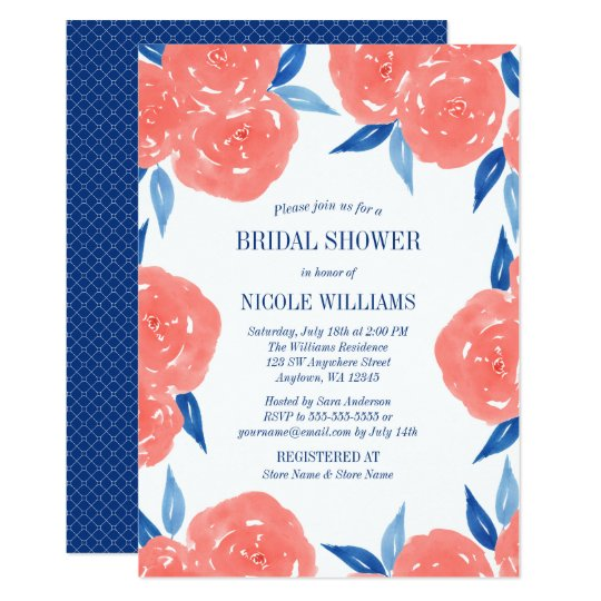 Coral navy blue watercolor flowers bridal shower invitation zazzle coral navy blue watercolor flowers bridal shower invitation filmwisefo