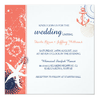 Elegant Coral Navy Blue White Nautical Wedding Card