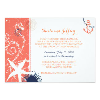 Coral Navy Blue White Nautical Wedding Card