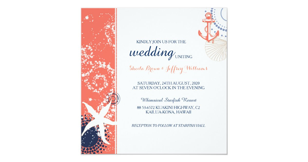 Blue And Coral Wedding Invitations: Coral Navy Blue White Nautical Wedding Invitation