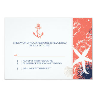 Coral, Navy Blue, White Nautical Wedding RSVP Card