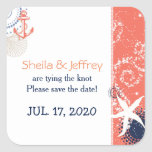 Coral Navy Blue White Nautical Wedding Square Sticker