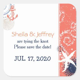 Coral Navy Blue White Nautical Wedding Square Sticker
