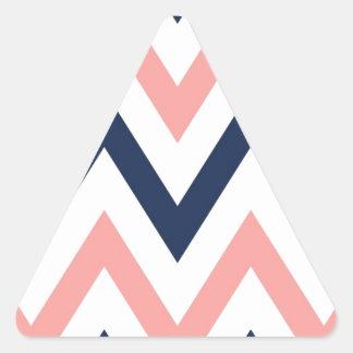 Coral & Navy Chevron Triangle Sticker