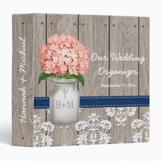 Coral Navy Hydrangea Mason Jar Wedding Planner Binder