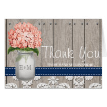 Coral Navy Hydrangea Monogram Mason Jar THANK YOU Card