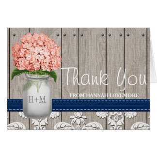 Coral Navy Hydrangea Monogram Mason Jar THANK YOU Card