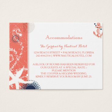 Beach Themed Coral & Navy Nautical Wedding Accommodations Business Card