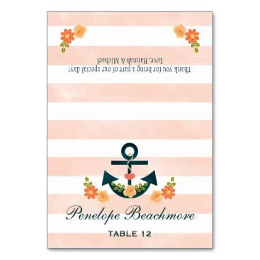 Beach Themed Coral Navy Nautical Wedding DIY Tent Place Cards
