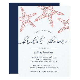 Coral & Navy Starfish Bridal Shower Invitation
